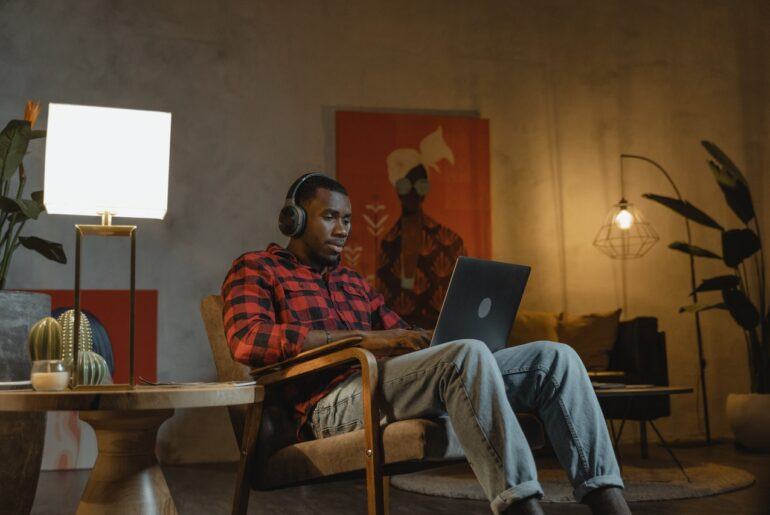 Man trying work from home productivity tips