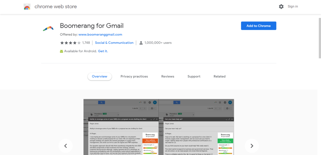 Screenshot of best chrome extensions for productivity: Boomerang for Gmail