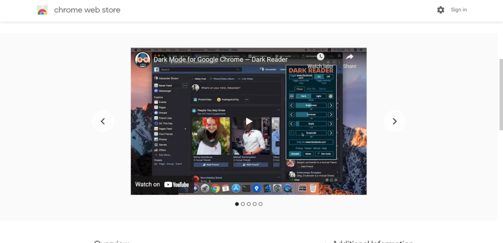 Screenshot of best chrome extensions for productivity: Dark Reader