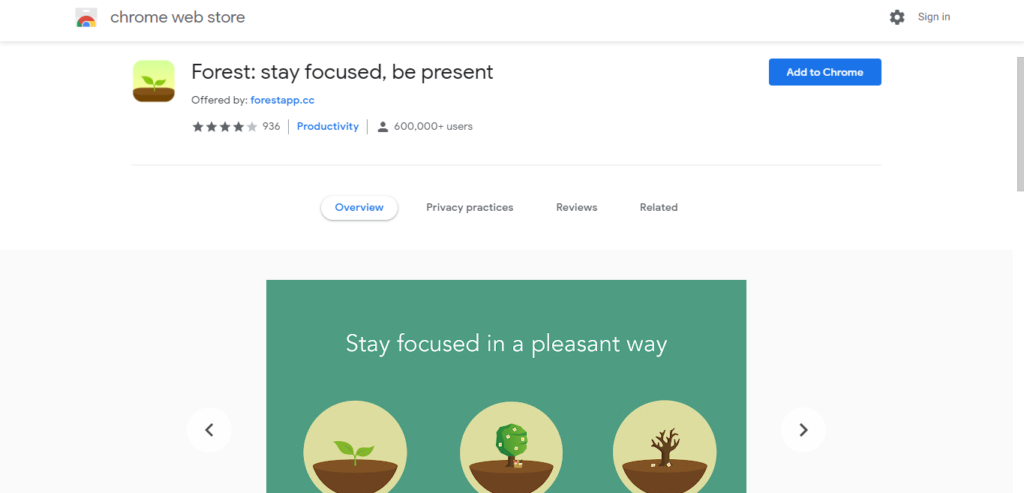 Screenshot of best chrome extensions for productivity: Forest