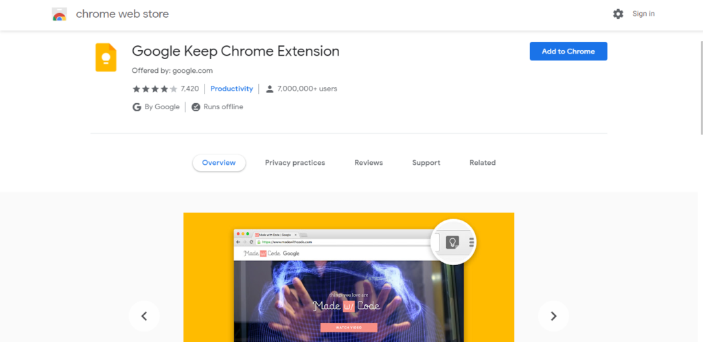 Screenshot of best chrome extensions for productivity: Google Keep