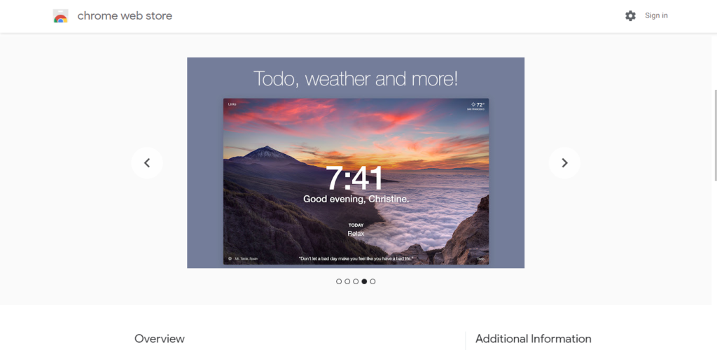 Screenshot of best chrome extensions for productivity: Momentum
