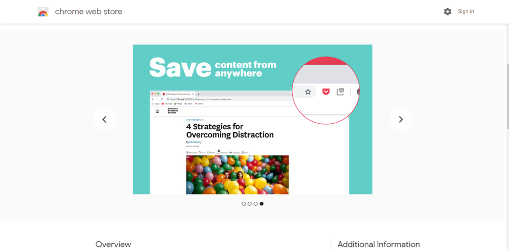 Screenshot of best chrome extensions for productivity:  Save to Pocket