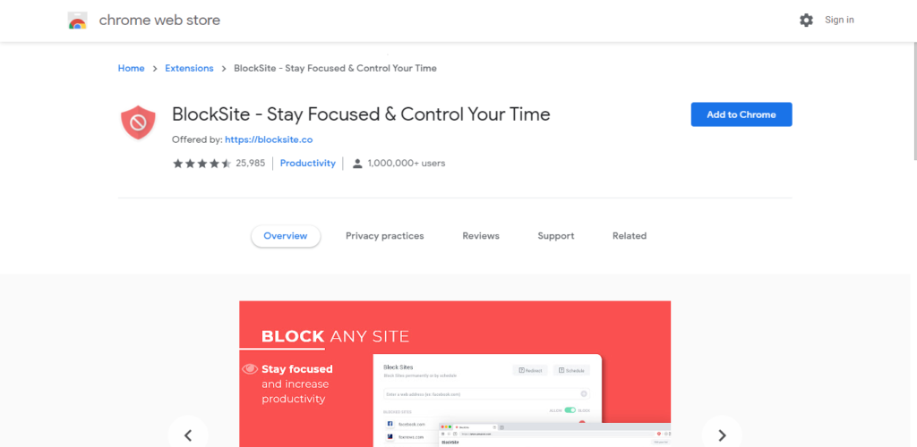 Screenshot of best chrome extensions for productivity: Stay Focused