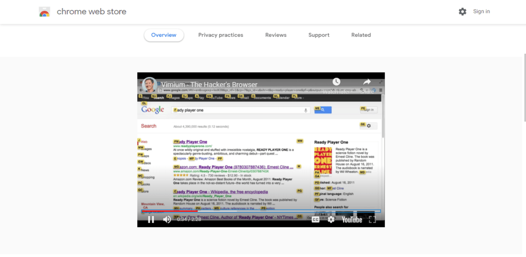 Screenshot of best chrome extensions for productivity: Vimium