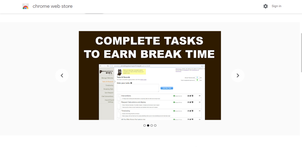 Screenshot of best chrome extensions for productivity: productivity Owl