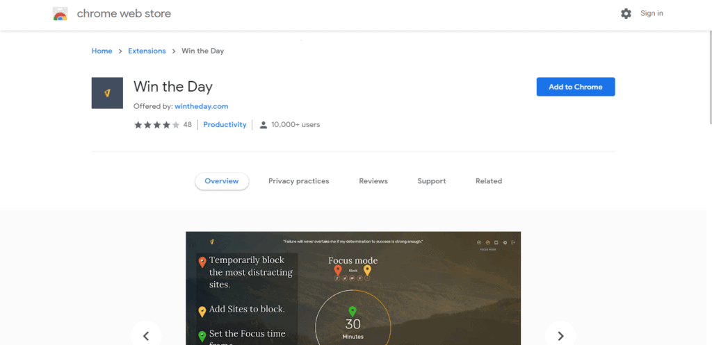 Screenshot of best chrome extensions for productivity: Win The Day