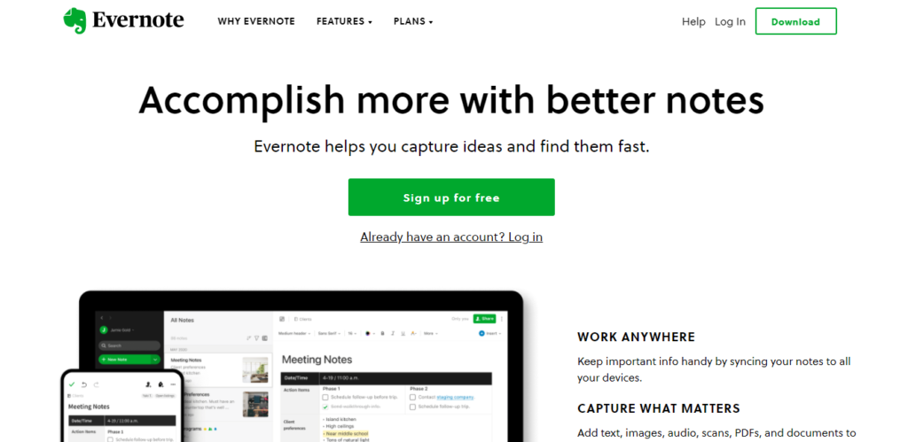 screenshot of best free productivity apps for students: Evernote