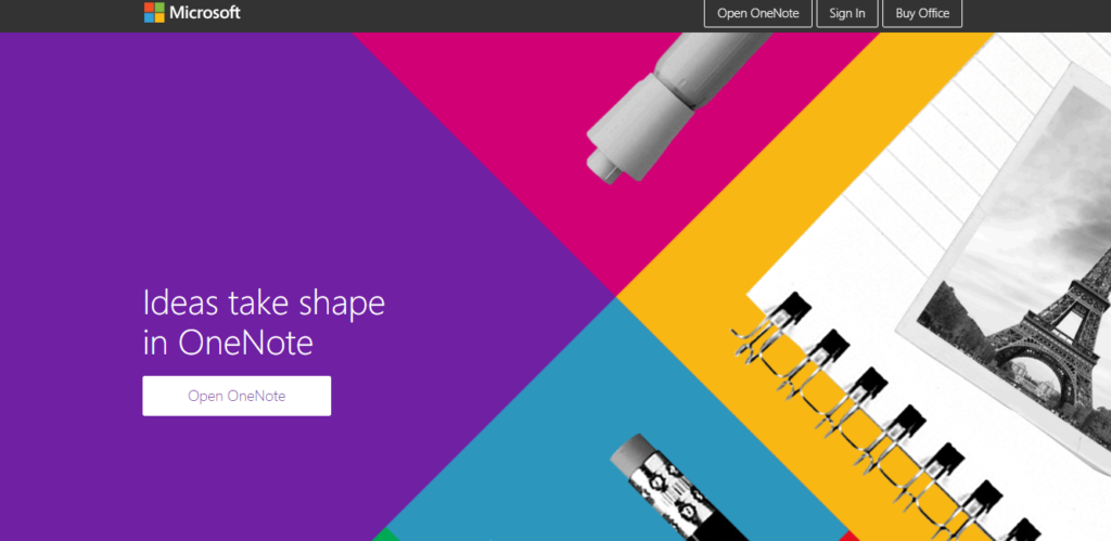 screenshot of best free productivity apps for students: Onenote