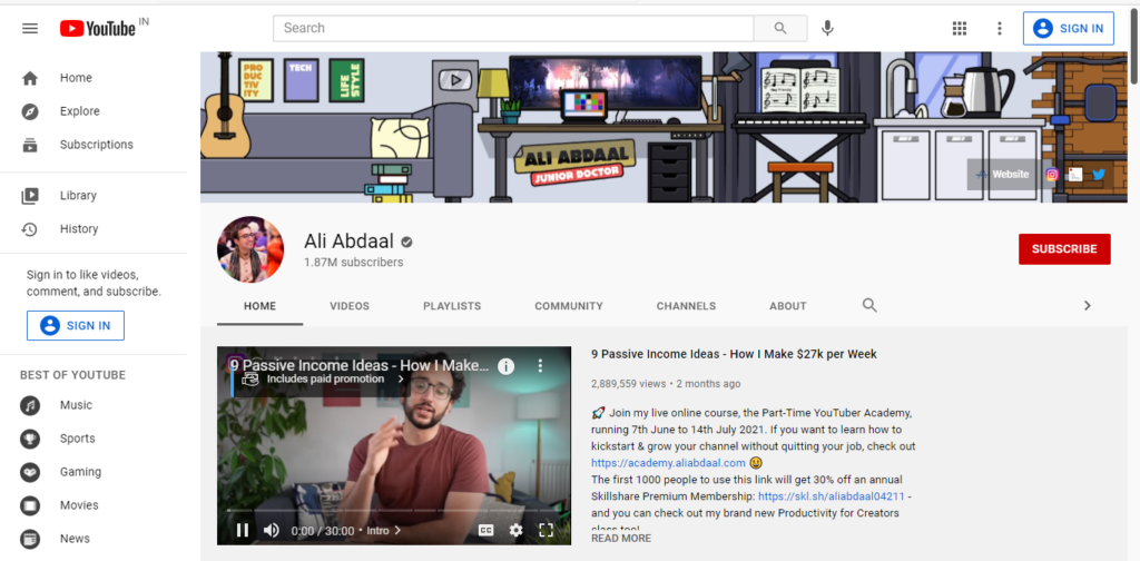 Best productivity resources: YouTube Channels  - Ali Abdal