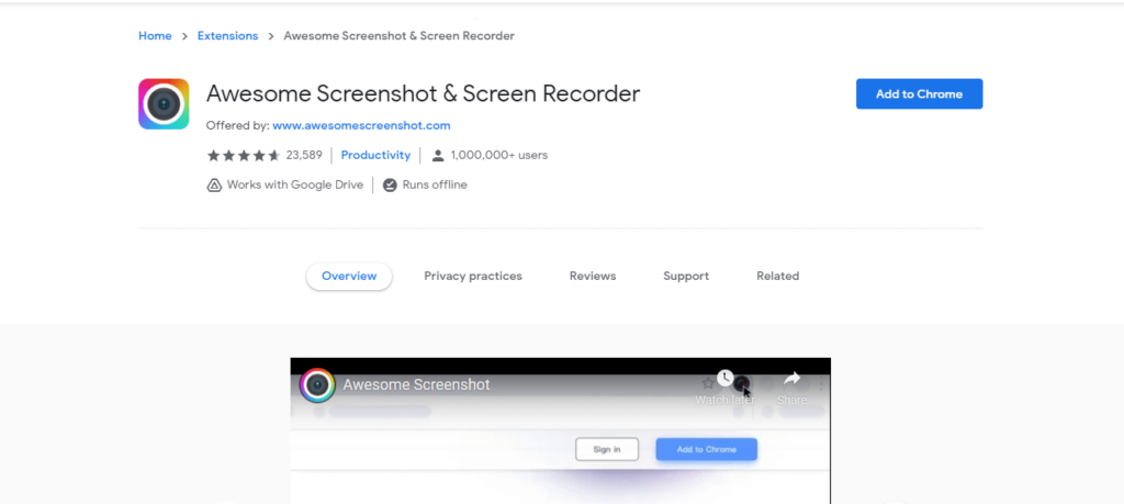 best chrome extensions to improve work from home:  Awesome Screenshot & Screen Recorder