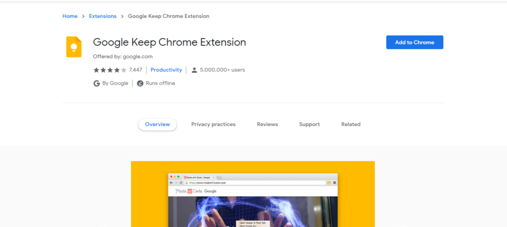 best chrome extensions to improve work from home: Google Keep