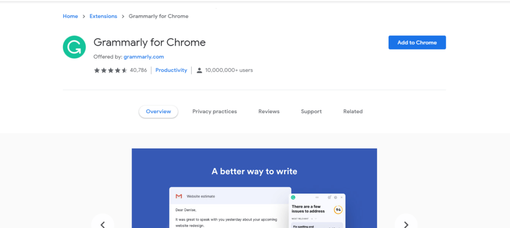 best chrome extensions to improve work from home: Grammarly