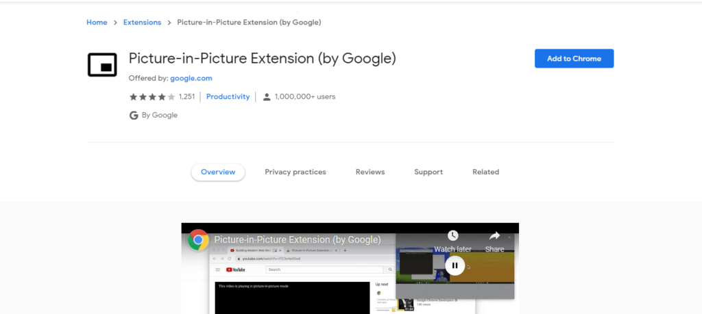 best chrome extensions to improve work from home: Picture-in-Picture