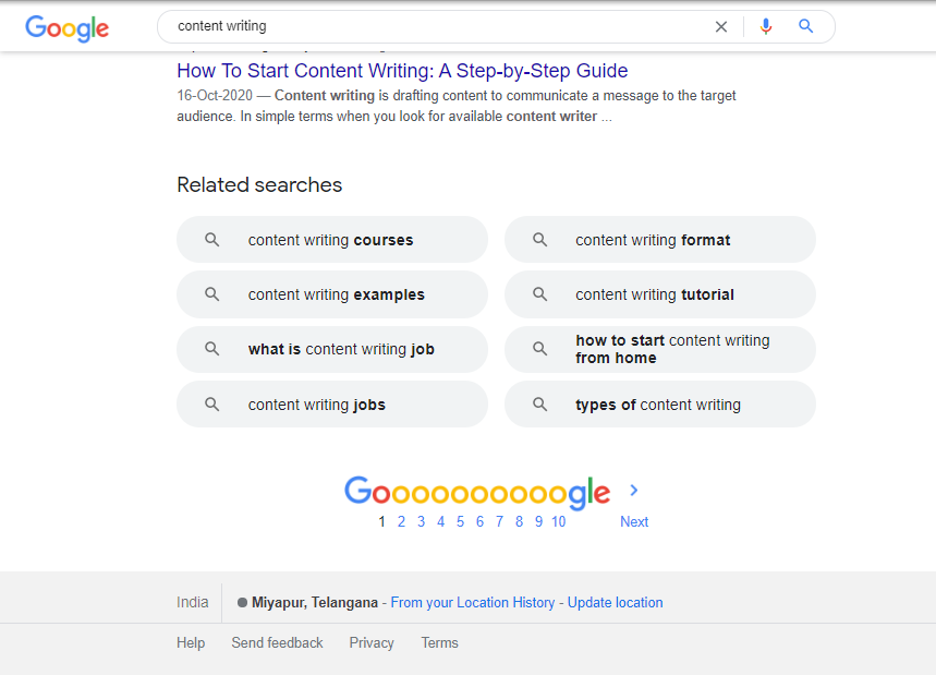 Google search's 'related searches' for content writing query
